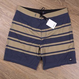 Banks Boardshorts Blue and Tan Surf Trunks Size 34